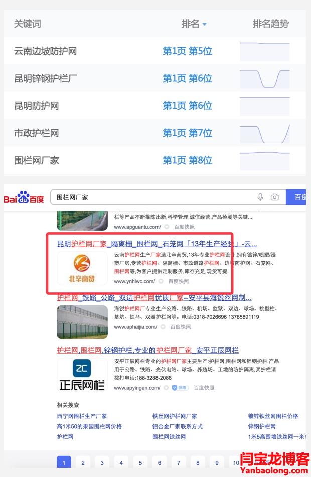 围栏网厂家的SEO网站排名稳居首页效果好